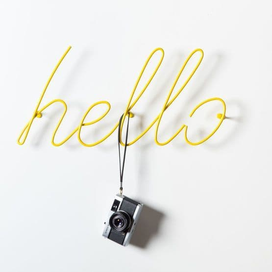 Yellow Hello Coat Hooks/Statement Word Wall Art by Block Design